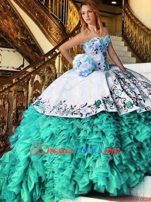 Sweetheart Sleeveless Lace Up Quince Ball Gowns Blue And White Organza