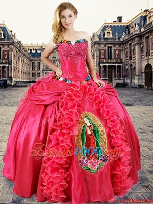 Sleeveless Floor Length Beading and Appliques and Ruffles Lace Up Quinceanera Gown with Coral Red