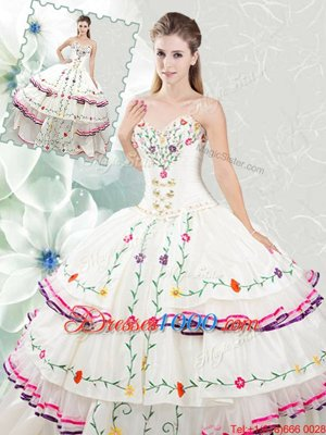 Dramatic Sleeveless Embroidery and Ruffled Layers Lace Up 15 Quinceanera Dress