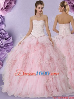 Tulle Sleeveless Floor Length Sweet 16 Dress and Beading and Lace and Ruffles