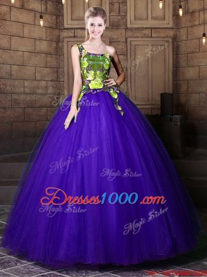 One Shoulder Blue Sleeveless Floor Length Pattern Lace Up Sweet 16 Dress