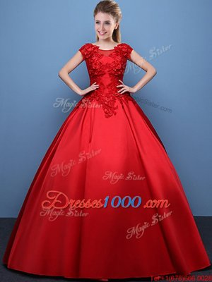 Popular Scoop Cap Sleeves Lace Up Floor Length Appliques Quinceanera Dress