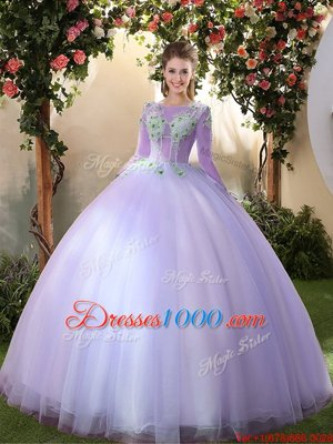 Scoop 3|4 Length Sleeve Sweet 16 Quinceanera Dress Floor Length Appliques Lavender Tulle