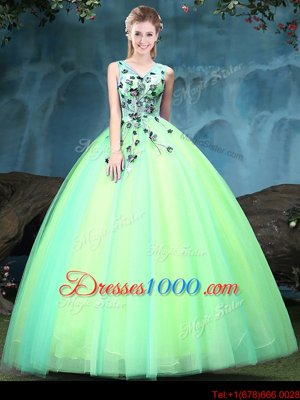 Multi-color Tulle Lace Up 15 Quinceanera Dress Sleeveless Floor Length Appliques