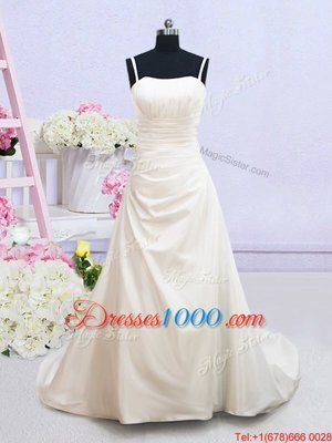 Ruching Bridal Gown White Zipper Sleeveless Brush Train
