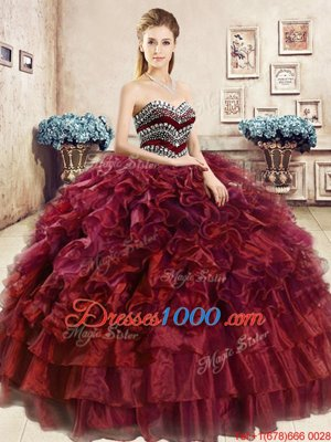 Stunning Wine Red Sleeveless Beading and Ruffles Floor Length 15th Birthday Dress