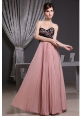 Lace and Pleat Pink Prom Dress Sweetheart Floor-length,Show off your fun and flirty! The fitted bodice is accented with sweetheart neckline and black lace fabric and the hidden zipper. A strapless bodice show your sexy and highlight your curves. The soft pleated skirt flare out from just below the empire waistline. Heads will turn as you arrive at your prom or formal! 