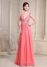 Watermelon Beading Straps Prom Dress With V-neck