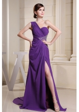 One Shoulder Front Split Beaded Prom Dress