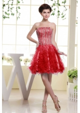 Red Beaded Ruffles A-line Short Prom Dress