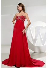 Beading Red Sweetheart Brush Train Dress for Prom