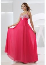 Beading Empire Chiffon Straps Prom Dress Hot Pink