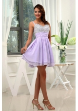 Beading Straps Chiffon Mini-length Lilac Prom Dress