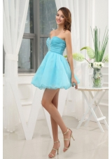 Beading Sweetheart Organza Mini-length Aque Prom Dress