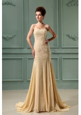Beading Mermaid Chiffon Court Prom Dress Champagne