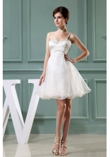 Beaded White Mini-length Straps A-Line Prom Dress
