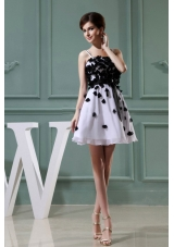 White Mini-length Prom Dress with Straps Appliques