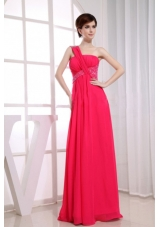 One Shoulder Beading Chiffon Coral Red Prom Dress
