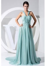 Straps Light Blue 2013 Prom Dress Watteau Backless