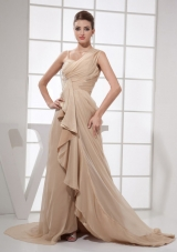 Asymmetrical Straps Champagne Brush Prom Evening Dress
