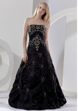 Embroidery Beading Black Floor-length Prom Dress