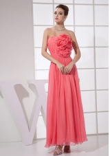 Hand Flower Watermelon Red Ankle-length Prom Dress
