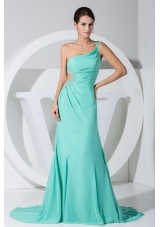Side Cutouts Beading Single Strap Brush Prom Evening Dress