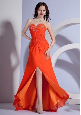 Beading Bust High Slit Orange Brush Prom Dress