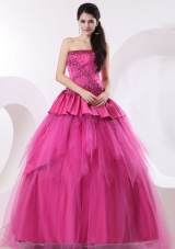 Hot Pink Quinceanera Dress With Beading For Gustomers
