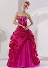 Hot Pink Taffeta Embroidery Strapless Quinceanera Dress,Unique and Charming! This gown is characterized by the structured bodice and the pick up skirt. The top bodice features which is full of embroidery features a strapless neckline. The skirt is a combination of taffeta and organza with outpayer adorned with pick ups, which creats a dramatic shape. This special dress is sure to impress at your special party! 