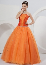 Orange Strapless A-line Organza Beading Quinceanera Dress