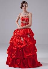 Red Appliques Taffeta Strapless Quinceanera Dress