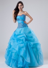Blue Quinceanera dress Appliques Ruched A-line Sweetheart