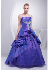 A-line Purple Pick-ups Appliques Hand Made Flower Quinceanera Dress