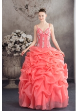 Watermelon Spaghetti Straps Appliques Pick-ups Long Quinceanera Dress