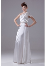Beading One Shoulder Long Column Wedding Dress