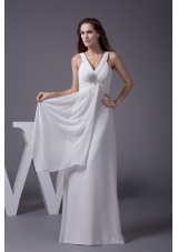 Perfect 2013 V-neck Column Long Beading Wedding Dress