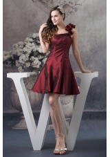 A-line Burgundy One Shoulder Mini-length Prom Evening Prom Dress