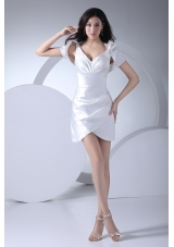 White V-neck Mini-length Prom Gown with Sash and Asymmetricl Edge