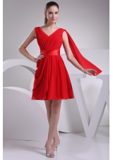 Fashionable Chiffon A-line V-neck Ruched Red Short Prom Dress
