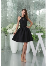 Elegant A-line Knee-length Black Prom Dress for Girls with Cutouts
