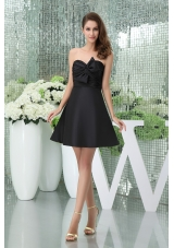 Impressive A-line Mini-length Sweetheart Black Prom Dress with Bowknot