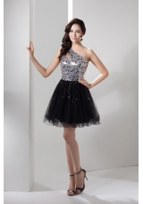 Sequin and Tulle One Shoulder Prom Dress Decorated with Beadings