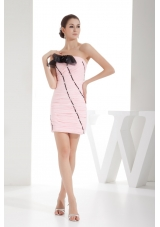 Sheath Light Pink Hand Flowers Prom Dress with Ruching and Beading