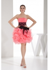 Strapless Ruched Watermelon Prom Dress Knee-length with Sash