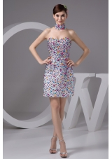 Strapless Mini Prom Dresses with Colorful Rhinestone Over Skirt