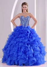 Royal Blue Sweetheart Ruffles and Beaded Decorate Quinceanera Dresses On Sale
