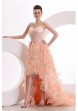 Unique High-low Sweetheart Lace-up Peach Prom Dress with Feather