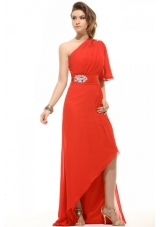 Single Sleeves Beading Red Prom Attire with Asymmetrical Hem