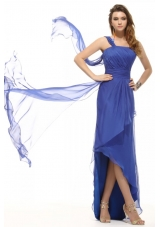 Layered Ruches Blue One Shoulder Asymmetrical Prom Attire